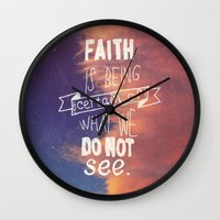 faith Wall Clocks featuring faith  by Brittney Borowski
