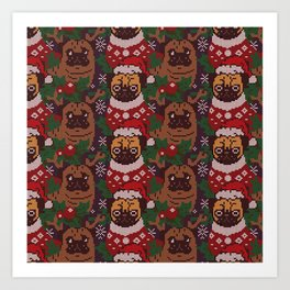 Christmas Party With The Pug Art Print