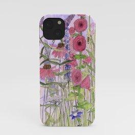 Watercolor Wildflower Garden Flowers Hollyhock Teasel Butterfly Bush Blue Sky iPhone Case