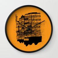 hong kong Wall Clocks featuring Hong Kong Flats by Miguel Villasanta