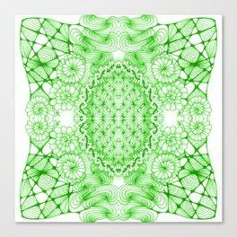 Green Zentangle Tile Doodle Design Canvas Print