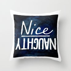 Naughty/Nice Throw Pillow