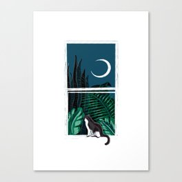 Pip the Cat Under a Crescent Moon Canvas Print