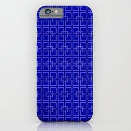 Rich Earth Blue Interlocking Square Pattern iPhone Case