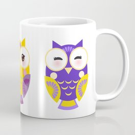 bright colorful owls on white background Coffee Mug
