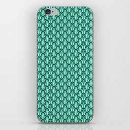 Gleaming Green Metal Scalloped Scale Pattern iPhone Skin