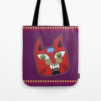 diablo Tote Bags featuring Gato Diablo by Scribblebro