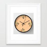 tigger Framed Art Prints featuring Tigger clock by BlackBlizzard