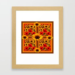 RED POPPIES YELLOW SUNFLOWERS BROWN PATTERN ART Framed Art Print