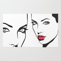 angelina jolie Area & Throw Rugs featuring Angelina Jolie by Tamsin Lucie