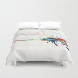 Colorful Shrimp Art by Sharon Cummings Duvet Cover