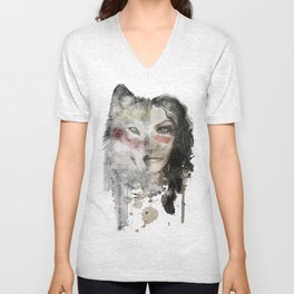 The Wolf Lady  Unisex V-Neck
