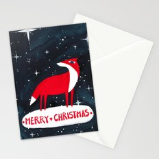 Merry Christmas! - Fox and stars Stationery Cards