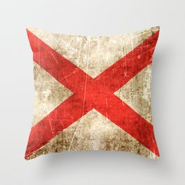 Vintage Aged and Scratched Alabama Flag Throw Pillow