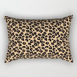 Classic Black and Yellow / Brown Leopard Spots Animal Print Pattern Rectangular Pillow