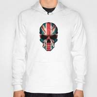 british flag Hoodies featuring British Flag Skull on Black by Jeff Bartels