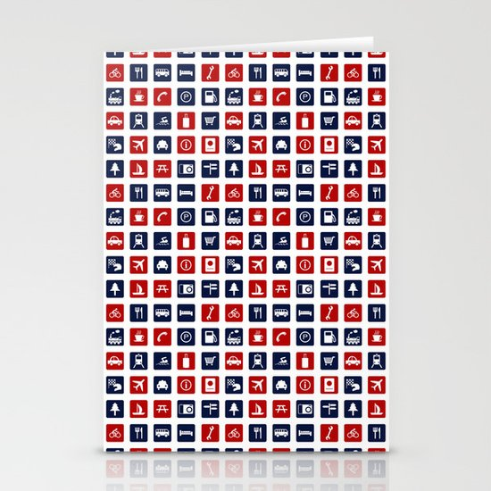 Travel Icons in RWB Stationery Cards