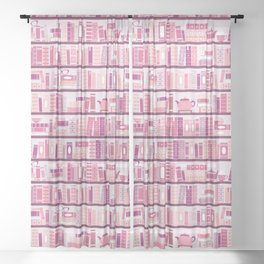 Bookcase Pattern Romance Pink Books Sheer Curtain