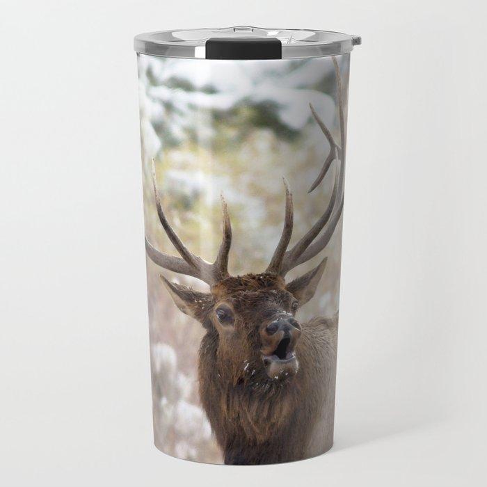 Watercolor Elk Bull 37, Bob! Over Here! Travel Mug