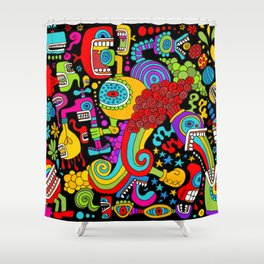 Space Doodle Shower Curtain