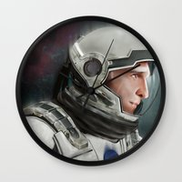 interstellar Wall Clocks featuring Interstellar by San Fernandez
