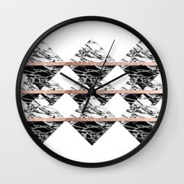Modern Chic Black White Marble and Rose Gold Strip Wall Clock