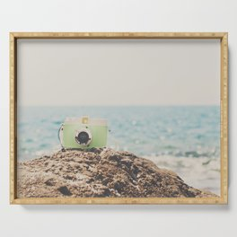 "the ""dreamer"", a mint green camera with the ocean behind it Serving Tray"