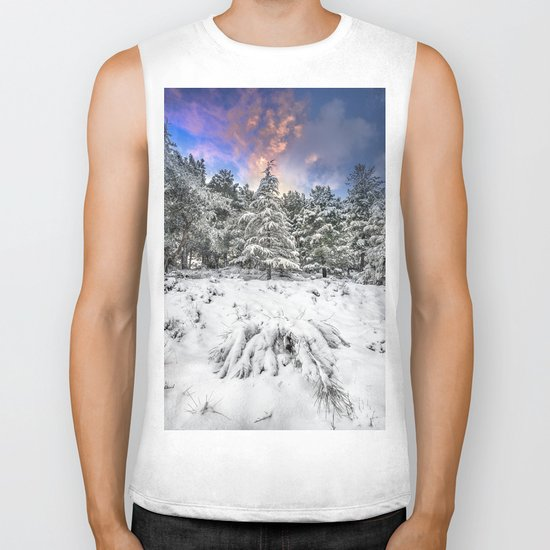 """Mountain Light IV"" Snowy Forest At Sunset Biker Tank"