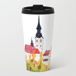 Slovenia Bled Lake pilgrimage church Travel Mug