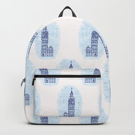 Vignette London Big Ben Clock Tower seamless pattern. Backpack