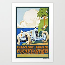 1929 Cap D'Antibes France Grand Prix Racing Poster  Art Print