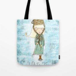 White Tea Girl Tote Bag