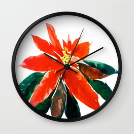 Christmas Poinsettia Wall Clock