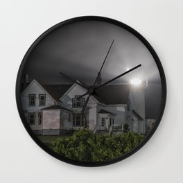 Eastern point lighthouse on a foggy night Wall Clock