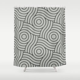 Circle Swirl Pattern Benjamin Moore's color of the year 2019 Metropolitan Gray AF-690 Shower Curtain