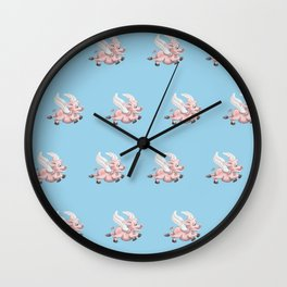 flying pigs blue Wall Clock