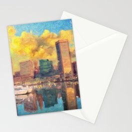 Baltimore Maryland Skyline Stationery Cards