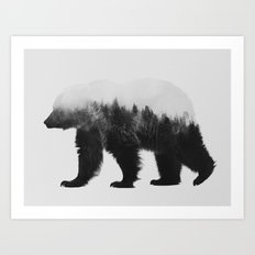 Brown Bear (black & white version) Art Print