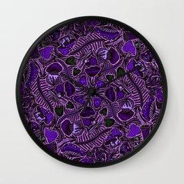 Ultraviolet Mushroom Wood, Field Ferns Leaves  in Lavender Purple Fungi Forest Painting Wall Clock