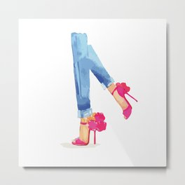 Red heels and jeans Metal Print