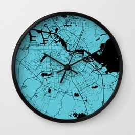 Amsterdam Turquoise on Black Street Map Wall Clock
