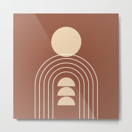 Geometric Lines in Terracotta and Beige 28 (Sun and Rainbow) Metal Print