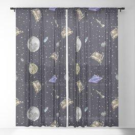 Gagarin space art #12 seamless texture Sheer Curtain