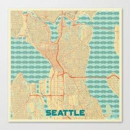 Seattle Map Retro Canvas Print