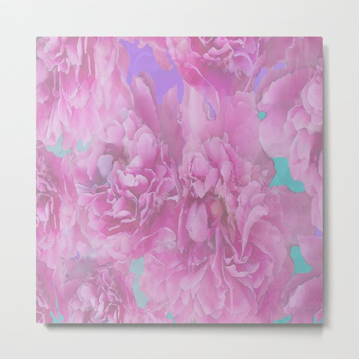 Surrounded by flowers - pink and purple bloom with turquoise background - #society6 #buyart Metal Print