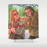thranduil Shower Curtains featuring Courting a King [Barduil] by ProfDrLachfinger