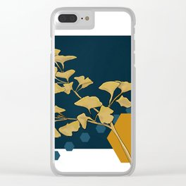 Gingko and hexagons Clear iPhone Case
