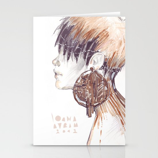 Fashion illustration profile portrait gold black white markers and watercolors Stationery Cards