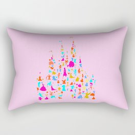 Multicolored castle characters with pink Rectangular Pillow