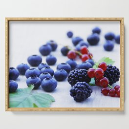 Fresh wild berries, blackberries, blueberries and currants in still life Serving Tray